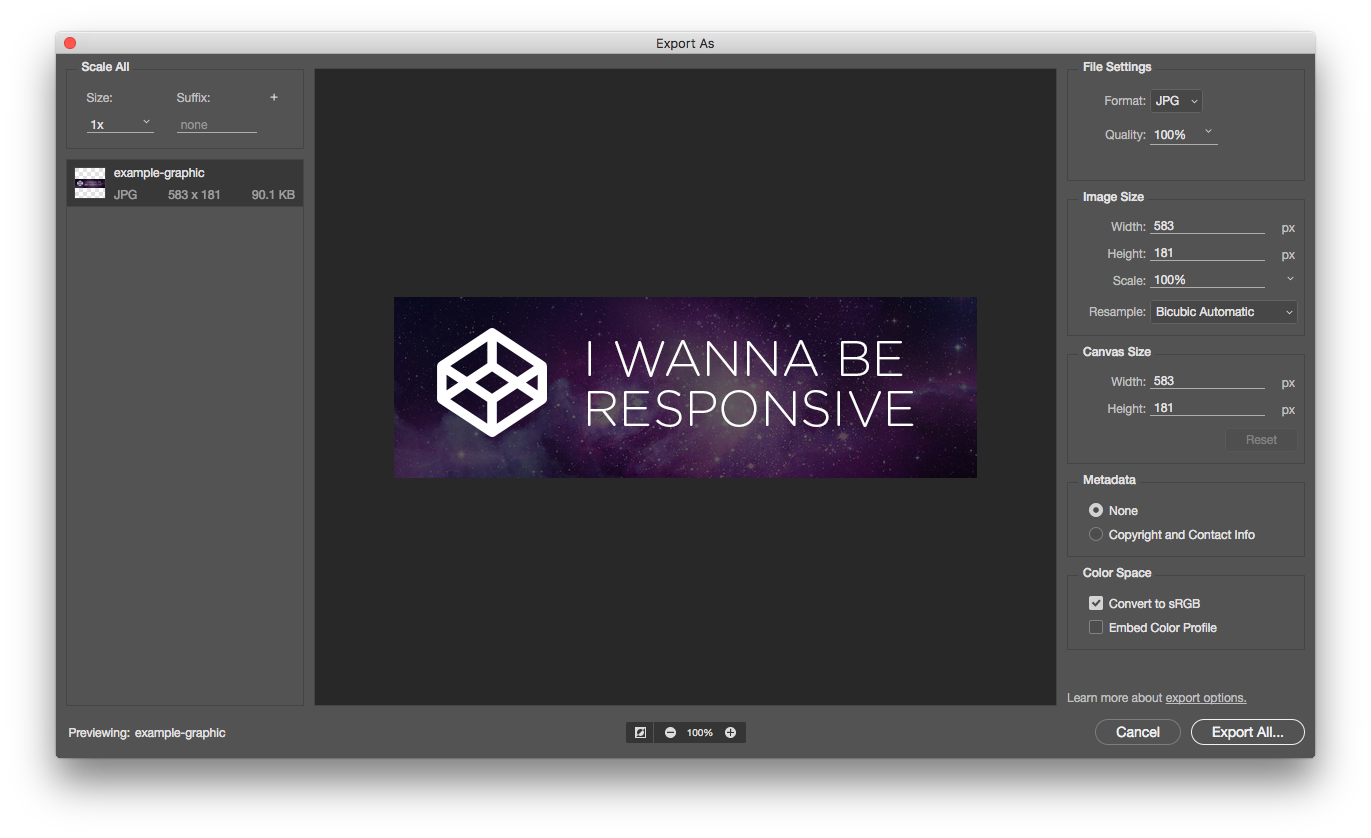 Exporting Images in Multiple Resolutions Simultaneously