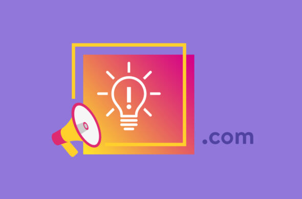 "An illustrated domain name representation, with a lightbulb on a screen with "".com"" next to it."