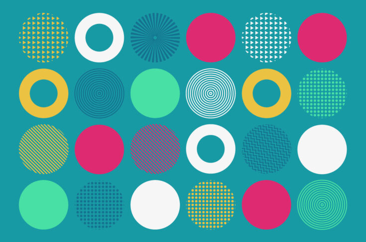 An illustration of styled circles in a grid
