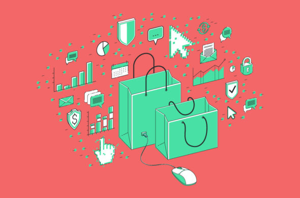 Illustration of shopping bags and tech icons