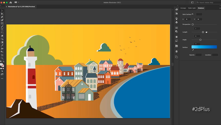 A scene in Illustrator of a vector lighthouse casting shadows on houses