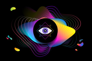 Illustration of an eye in colorful futuristic patterns