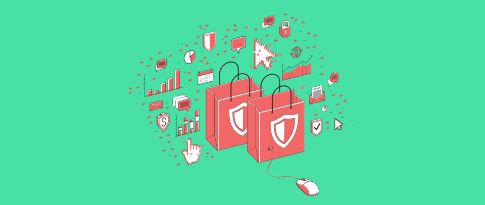 Illustration of shopping bags marked by security shields