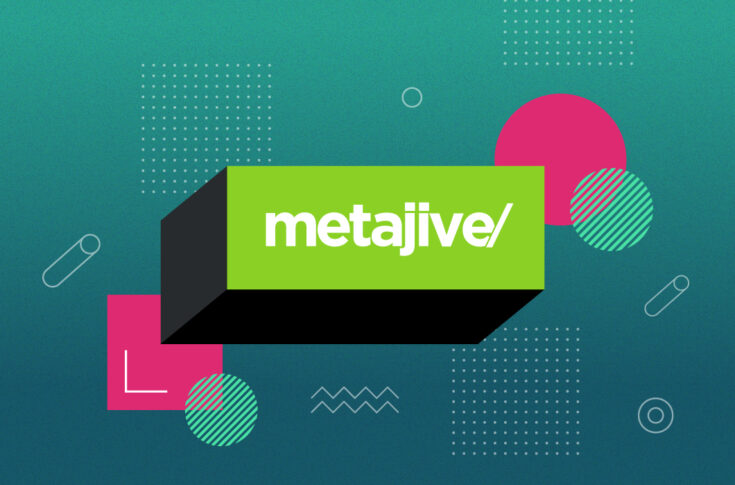 Metajive's logo on a box floating over an abstract geometric background