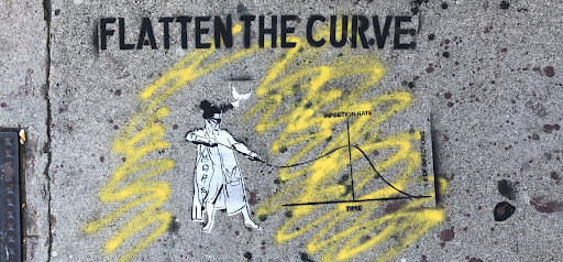 """Stenciled street art of a trench-coated woman pulling the line of a COVID infection graph, with the words """"FLATTEN THE CURVE"""" stenciled above"""