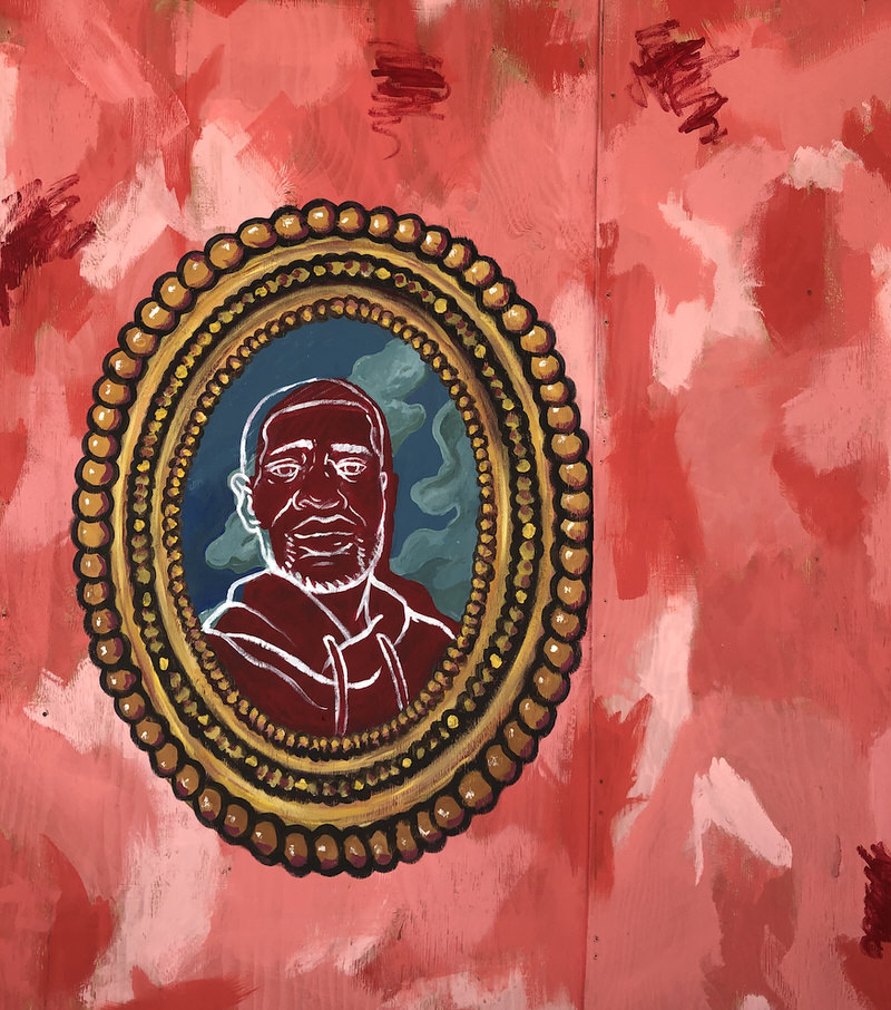 A painting of George Floyd's photo in an ornate gold frame over an abstract pattern.
