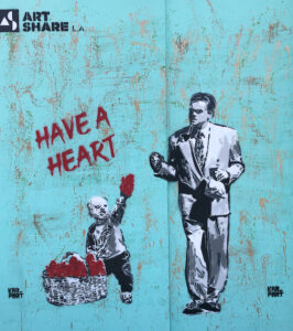 """Street art on a boarded up storeront with a child handing hearts to a man walking by with the words """"HAVE A HEART"""""""
