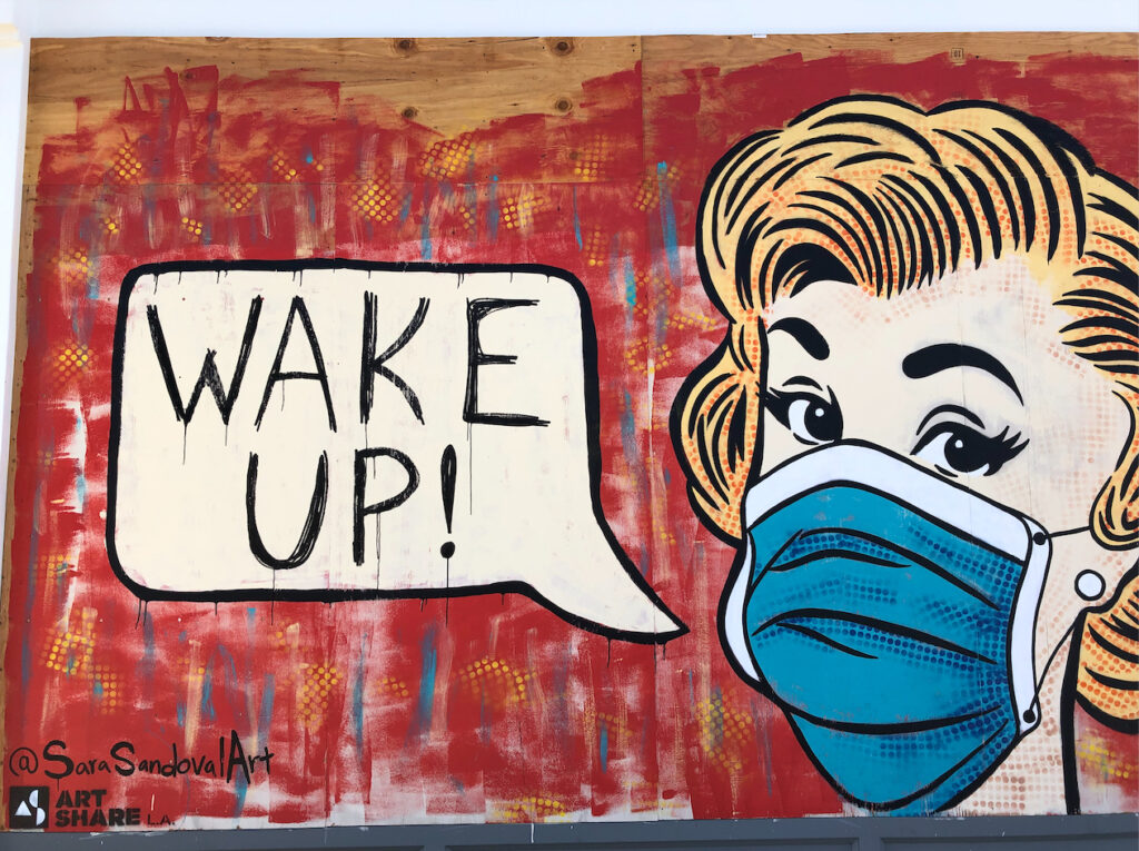 """A vintage-style illustration of a woman in a mask, a cartoon speech bubble coming from her mouth with the words, """"WAKE UP!"""""""