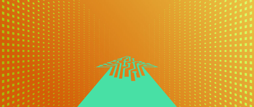 Illustration of an arrow full of digital circuitry moving forward through a bright gridded background.