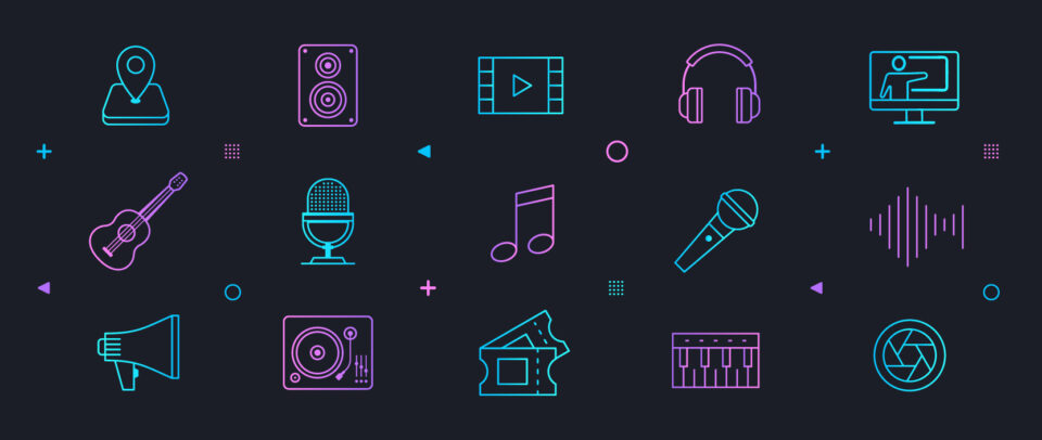 An illustration of icons of computer parts, microphones, movie tickets, and more.