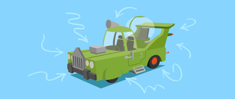 An illustration of Homer's wild green car design