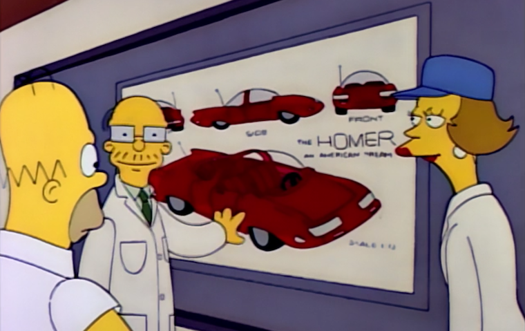 Powell Motors engineers present concept art of a sleek red car incorporating Homer's ideas
