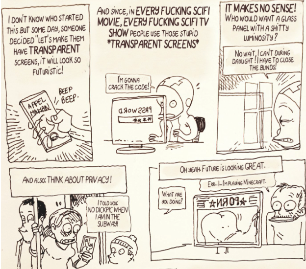 A portion of Boulet's comic about transparent displays