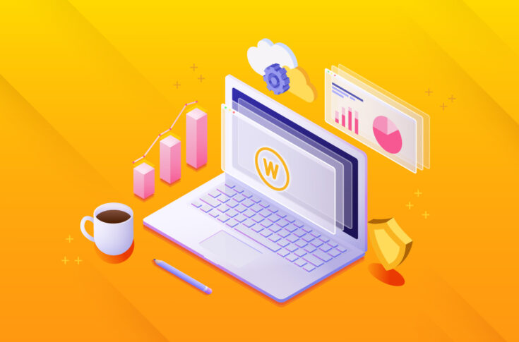 An illustration of a laptop with 3D shapes representing different aspects of building a WordPress site (graphs, gears, a shield, and a cup of coffee)