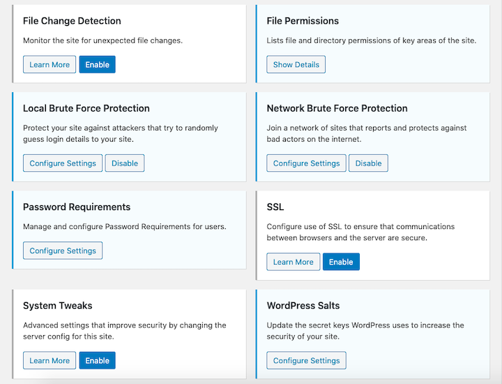 Screenshot of the iThemes Security plugin's options, including File Permissions, Password Requirements, WordPress Salts, and more