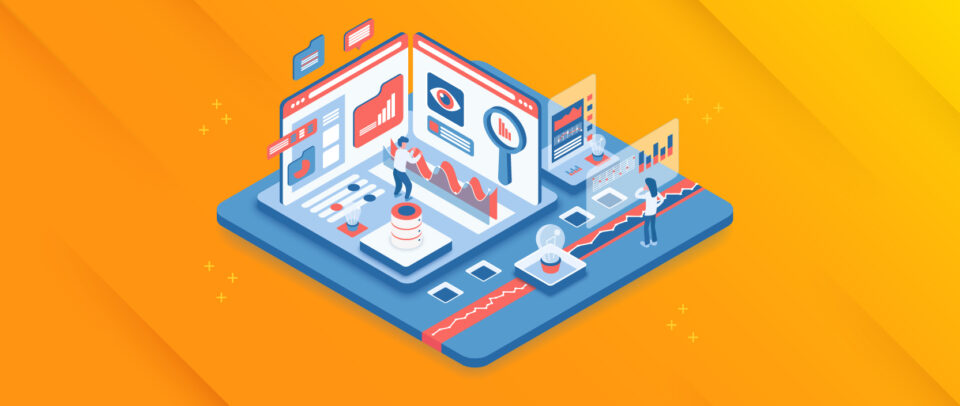 An isometric illustration of people working in a cube of screens featuring website performance graphs and icons