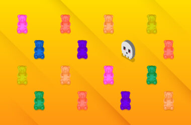 An illustration of a pixel skull amid a grid of gummy bear candies