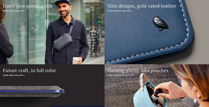 A series of photos from Bellroy's website, featuring simple close-up photos of products and casual everyday shots of people wearing and opening their products.