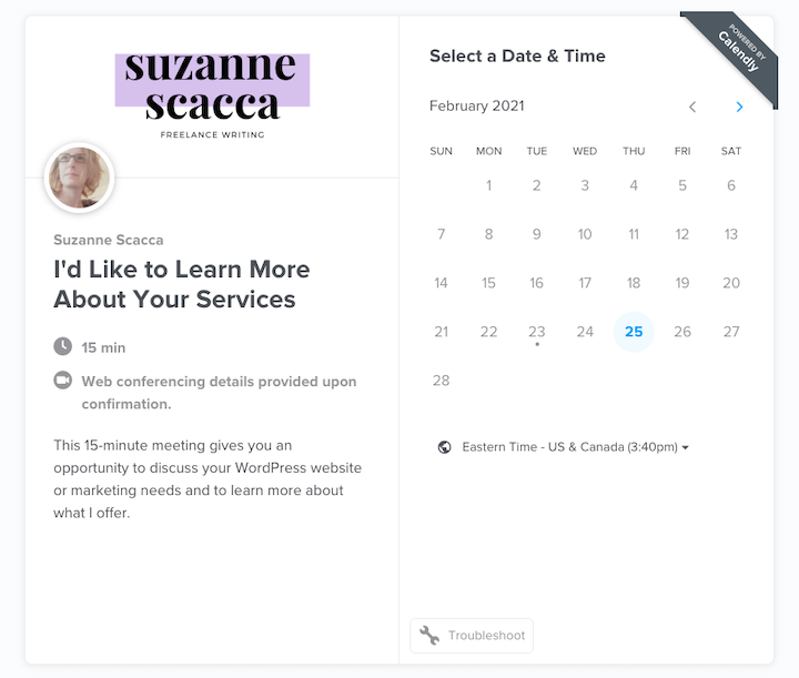 Screenshot of how the Calendly experience looks for your clients: a calendar with meeting information and time