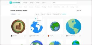 """A screenshot of the search results for """"earth"""" on LottieFiles.com"""