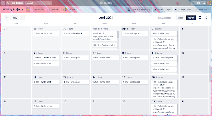 Screenshot of Trello's calendar view, with tasks timed out for each day