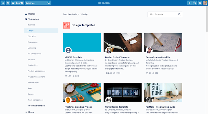 Screenshot of Trello's Design Templates, with a variety of options