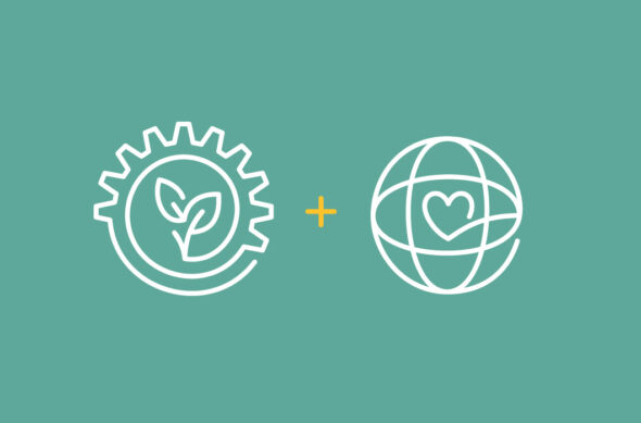 Illustration: A gear with leaves + a globe with a heart