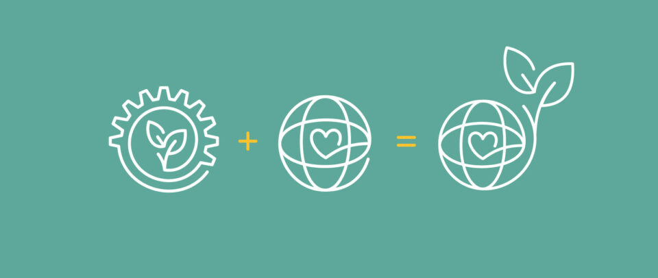 Illustration: A gear with leaves + a globe with a heart = a heart-full globe sprouting leaves