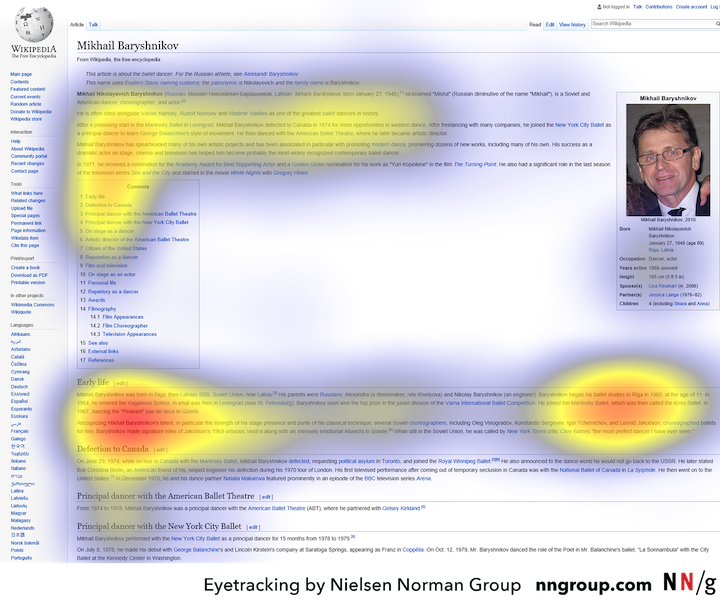 The eye-tracking heat map of a Wikipedia page, showing accents of attention in the two horizontal bars and a vertical line on the left side of the screen (like the letter F).