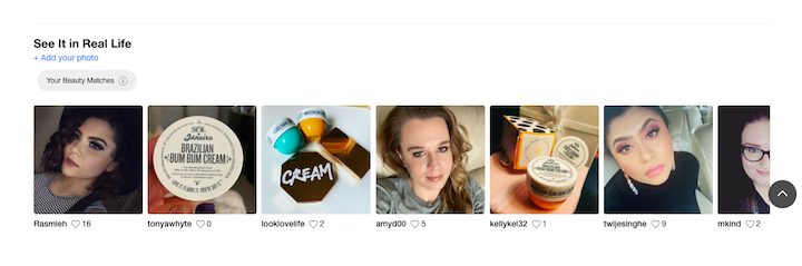 """A screenshot of Sephora's site, showing its """"See It in Real Life"""" section, with customers sharing selfies using Sephora products"""