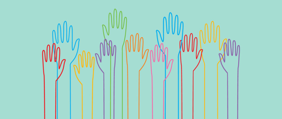 Illustration of overlapping outlines of hands in rainbow colors reaching up.