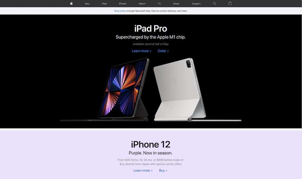 Screenshot of Apple's website, touting new iPad processors and