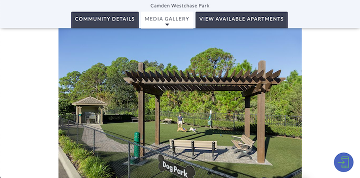 Screenshot of Camden Westchase Park's website with a photo of an open dog park with dogs playing beside a covered seating area.