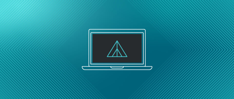 Illustration of a futuristic laptop with an icon of a pyramid inside a pyramid, the logo of Media Temple's VPS Hosting