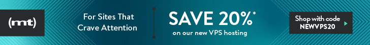 Special Introductory Pricing: Save 20% on VPS hosting with code NEWVPS20