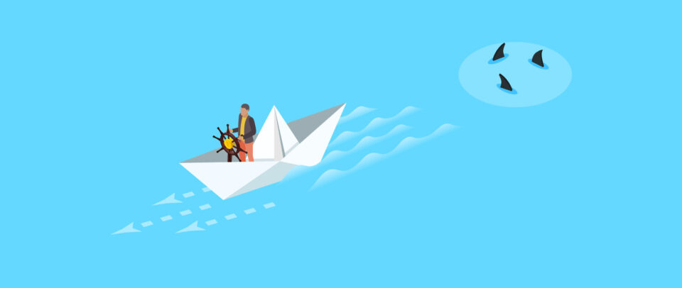 Illustration of a figure in a paper boat steering away from circling sharks