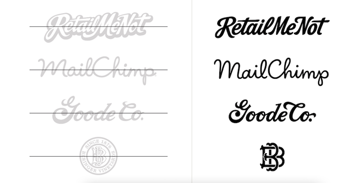 Side-by-side comparison of logo redesigns done by Jessica Hische